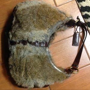 Antonio Melani Leather & Rabbit Fur Bag